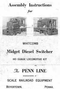 Penn Line D-1 Whitcomb Switcher Instructions